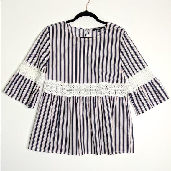 fc9fdbfc4f1 LIPSLIDE Stripe Bell Sleeve Lace Tunic Top L
